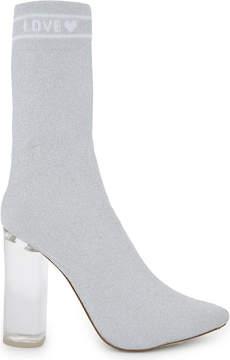 Aldo Silver Modern Lovelyy Heeled Sock Boots