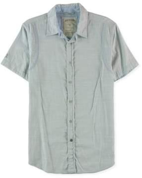 GUESS Mens Gable Button Up Shirt Blue S