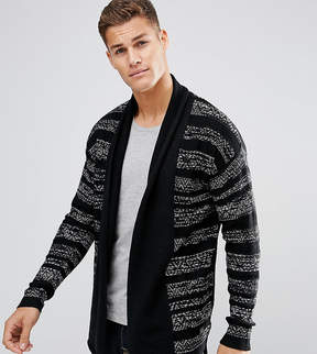 Jack and Jones Originals Open Drape Cardigan in Mixed Stripe