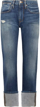 Frame Le Oversized Cuff High-rise Straight-leg Jeans - Blue