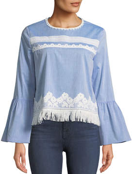 T Tahari Fringe-Trim Long-Sleeve Blouse