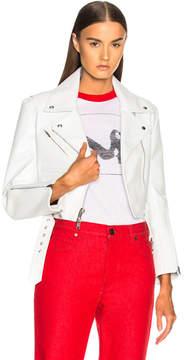 Calvin Klein Shiny Plonge Leather Cropped Jacket