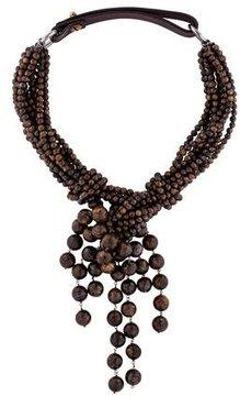 Brunello Cucinelli Bronzite Bead Choker Necklace