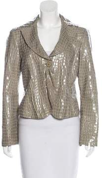 Armani Collezioni Embossed Leather Notch-Lapel Jacket