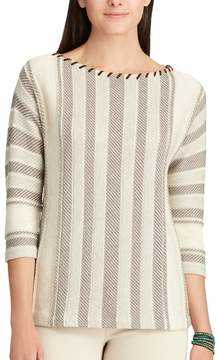 Chaps Women's Striped Cotton-Blend Sweater