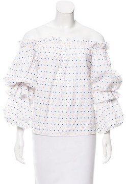 Caroline Constas Embroidered Off-The-Shoulder Top w/ Tags