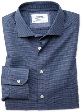 Charles Tyrwhitt Slim Fit Semi-Spread Collar Business Casual Navy Patterned Cotton Dress Shirt Single Cuff Size 15/32