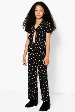 boohoo Girls Knot Front Spotted Jumpsuit