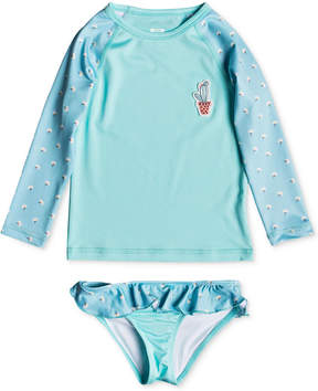 Roxy 2-Pc. Floral-Print Rash Guard Swim Set, Little Girls
