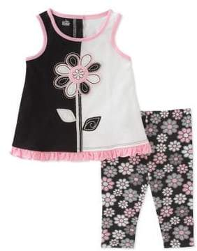 Kids Headquarters Little Girl's Two-Piece Floral Tunic and Capri Set
