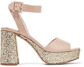 Miu Miu Glittered Patent-leather Platform Sandals - Pink