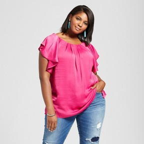 Ava & Viv Women's Plus Size Ruffle Sleeve Top Ruby Pink