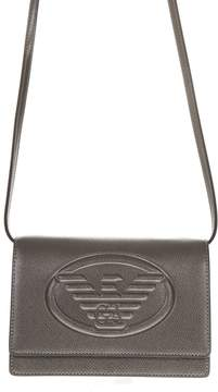 Emporio Armani Silver Faux Leather Shoulder Bag