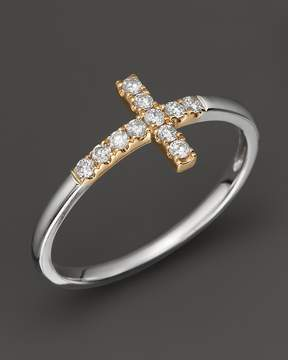 Bloomingdale's Diamond and 14K White and Yellow Gold Cross Ring, .15 ct. t.w.