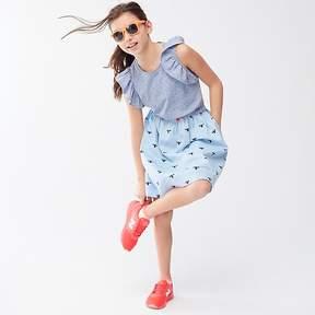 J.Crew Girls' flutter-sleeve mixed-media dress