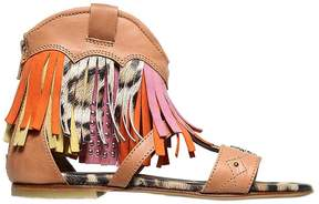 Roberto Cavalli Nappa Leather Bootie Sandals W/ Fringes