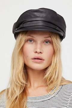 Free People Commodore Leather Lieutenant Hat