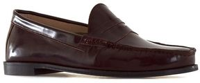 Topman Burgundy High Shine Leather Penny Loafers