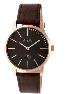 Simplify The 4700 Unisex Brown Strap Watch-Sim4705