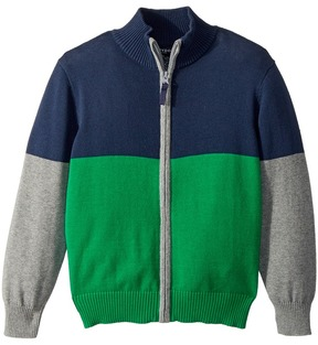 Toobydoo Going Green Color Block Zip Sweater Boy's Sweater
