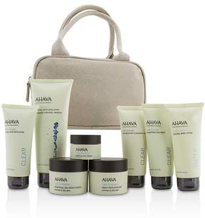 Ahava Essential Beauty Case: Body Exfoliator+Body Lotion+Cleanser+Facial Exfoliator+Mask+Day Cream+Night Cream+Eye Cream+Beige Bag