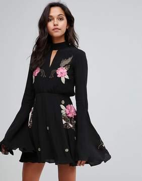 MACKINTOSH Millie Rose Embroidery Flare Dress