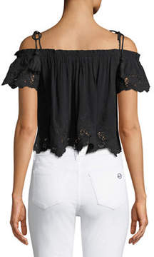 Astr Nadia Tie-Shoulder Crop Blouse