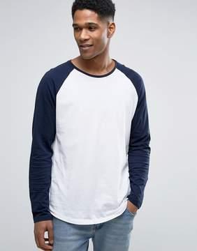 Esprit Longline Contrast Raglan Long Sleeve Top