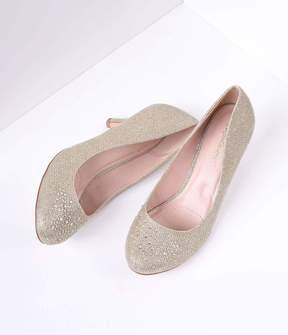 Unique Vintage Nude Metallic Rhinestone Doris Kitten Heels Shoes