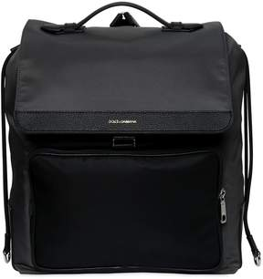 Nylon Backpack W/ Leather Pocket