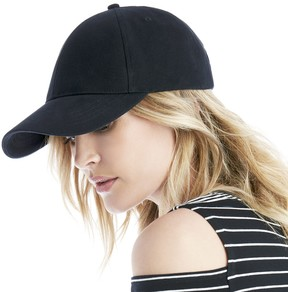 Sole Society Denim Baseball Cap with Faux Leather Tab