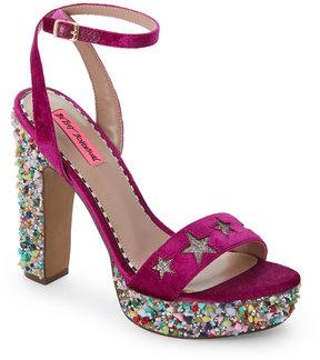 Betsey Johnson Magenta Kenna Platform Block Heel Sandals