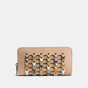 COACH Coach Accordion Zip Wallet In Exotic Link Leather - BLACK COPPER/BEECHWOOD MULTI - STYLE