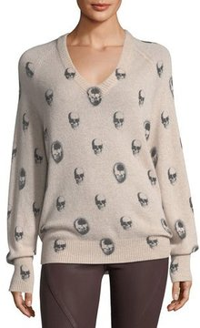 360 Sweater 360Sweater Riley V-Neck Skull-Print Cashmere Sweater