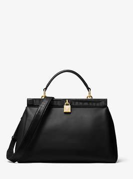 Michael Kors Gramercy Leather Frame Satchel - BLACK - STYLE