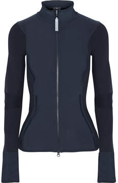 adidas by Stella McCartney Stretch-jersey And Ribbed-knit Jacket - Midnight blue