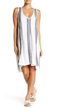 Letarte Striped Embroidered Hi-Lo Dress