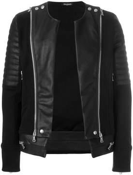 Balmain collarless sweatshirt jacket