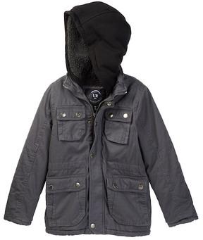 Urban Republic Washed Cotton Twill Safari Jacket with Faux Fur Lining (Big Boys)