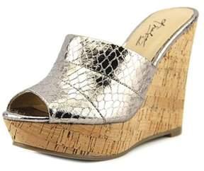 Thalia Sodi Jadey Women Open Toe Synthetic Silver Wedge Sandal.
