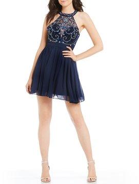 B. Darlin Swirl Bead Pattern Bodice Fit-And-Flare Dress
