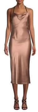 Fleur Du Mal Cowlneck Silk Midi Dress