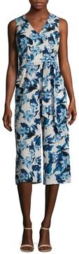 Donna Ricco Women's Floral Print Tie Belt Jumpsuit