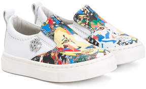 Roberto Cavalli lion print slip-on sneakers