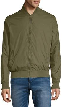 French Connection Men's Baseball Tech Rib-Trimmed Bomber Jacket