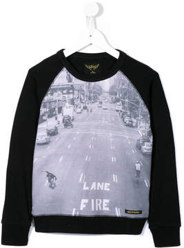 Finger In The Nose Fire Lane traffic motif sweater