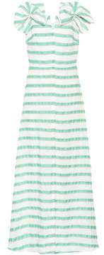 DELPOZO Striped linen-blend dress