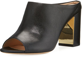 Neiman Marcus Tonnia Leather Slide Mule, Black