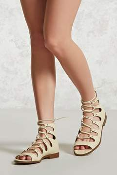 Forever 21 Faux Leather Lace-Up Sandals