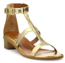 Aquatalia Risa Metallic Leather Block Heel Gladiator Sandals